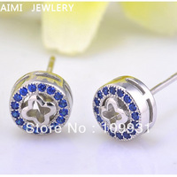 Genuine 925 Sterling Silver Fashion Jewelry Blue CZ Cubic Zirconia Crystal Stones Women  Round Stud Earrings Free shipping