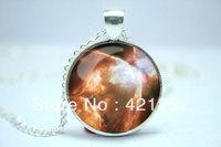 10pcs/lot Galaxy Necklace, Heavenly Nebula Pendant, Stars And Universe Jewelry Glass Cabochon Necklace