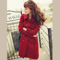 2013 winter Wool Blends Coat double breasted  women outerwear female clothing red plus size coat s m l xl xxl free shipping