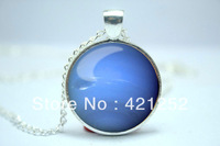 10pcs/lot Neptune Necklace, Planet Pendant, Universe Jewelry Glass Cabochon Necklace