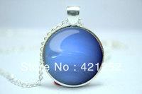 10pcs/lot Neptune Necklace, Planet Pendant, Universe Jewelry Glass Cabochon Necklace