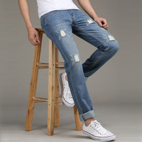 Autumn male straight jeans slim casual denim trousers male trousers