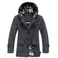 13 winter quality male overlock outerwear male trench with a hood wool overcoat male