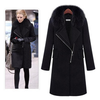 2013 autumn and winter fashion elegant slim fur collar wool coat outerwear female  AB38