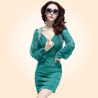 2013 autumn crotch cutout paillette chiffon long-sleeve dress V-neck sexy slim hip slim dress step