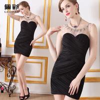 Guoisya formal dress short design slim hip zipper style beading annual meeting of dress clothing company short skirt