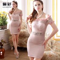 Guoisya color white lace dress sexy high waist short design evening dress slit neckline short formal dress