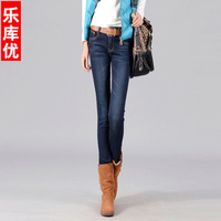 2013 winter new women's dark color scratched fleece thick boot  pencil jeans pants