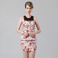 Guoisya faux two piece set dress one-piece dress faux two piece set mid waist short skirt formal dress short design
