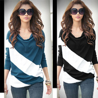 new arrive hot sell autumn Korean women bat shirt mixed colors fashion clothes loose long-sleeved T-shirt