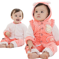 Free shipping,1lot=3sets,0025-04,The three-pieces suits of the girl,newborn gift set,set for a newborn baby,winter suit for baby
