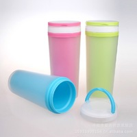 Free shipping,original colorful double-wall cup for outdoors,functional gift for kids.ecofriendly plastic mugs ,3colors