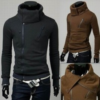 Free Shipping Men's Clothing Oblique Zipper Blazers Mandarin Collar Cardigan Slim Thickening Fleece Sweatshirt