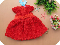 Free shipping Retail 2014 Latest Design Summer Girl Whole Body Roses Prom Dresses Bow Belt Dress up Princess Dress Stock