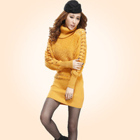 Autumn and winter women knitted turtleneck long-sleeve sweater one-piece dress cutout sleeve length slim velvet hip basic