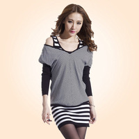 The trend of women 2013 autumn long-sleeve o-neck stripe faux two piece set sweater one-piece dress