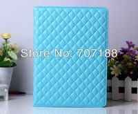 New Checked Grid Pattern Folio Folding PU Stand Leather Case Cover for iPad Air iPad 5 9.7 inch Tablet pc,Free Shipping!