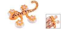Gecko Shape Orange Black Plastic Suction Cup Type Wall Hooks Hanger