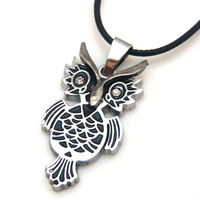 Pendant titanium fashion owl necklace general serpentine leather rope pendant