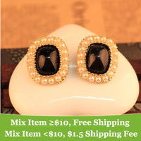 Min order 10usd ( mix items ) Fashion vintage  Square earrings gem pearl earrings for women 2013