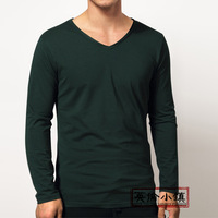 Modal soft male autumn and winter basic shirt long-sleeve T-shirt men's clothing slim small V-neck casual solid color t shirt