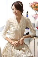 2013 women's autumn V-neck three-dimensional decoration lace basic shirt cardigan Long sleeve chiffon blouses M, L, XL