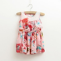 New,girls floral chiffon dress,children summer dress,corsage,a-line,sleeveless,2-8 yrs,5 pcs / lot,wholesale kids clothing,0335