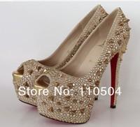 Red bottom shoes high heels waterproof Taiwan iridescence nailing diamond wedding shoe party shoes for women's shoes