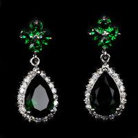 Fashion Jewelry  Green Earrings 18KT white gold filled lady Earrings  freeshippingAS6556