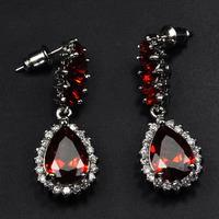 Fashion Jewelry  AAA zircon RED Earrings 18KT white gold filled lady Earrings Cubic Zirconia women earrings