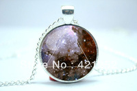 10pcs/lot Galaxy Triangle Necklace, Hipster Nebula Jewelry, Geometric Star Pendant Glass Cabochon  Necklace 5