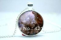 10pcs/lot Galaxy Triangle Necklace, Hipster Nebula Jewelry, Geometric Star Pendant Glass Cabochon  Necklace 5