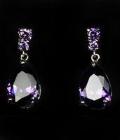 Fashion Jewelry  AAA zircon purple Earrings 18KT white gold filled lady Earrings Women drop earrings