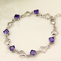 Love amethyst bracelet female fashion silver all-match accessories hand accessories birthday gift schoolgirl