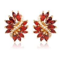 Fashion Jewelry  AAA zircon purple/red/champagne  Earrings 18KT white gold filled lady Earrings women earrings