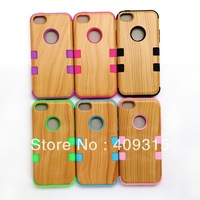 MOQ 1 Pcs Fashion Design Wood Wooden Defender Hybrid Silicone Hard Cover Case for iphone 5C 5 C  Drop Free shipping