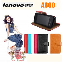 6-color ostrich luxury texture Leather Case for lenovo A800 protective cover Good soft genuin handfeel holster Free shipping
