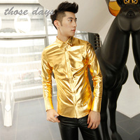 2013 Fashion Shiny silver shirt for men long sleeve faux leather shirts for men black/goldern silver shiny stage costumes