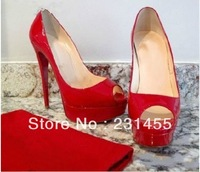 Free shipping classic red & black Vendome Patent Platform Red Sole leather fish mouth toe thin heel with platform woman pump