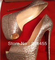 Free shipping new gold glitter hidden platform gold high heel woman sexy red sole 140mm high heel wedding big size shoes
