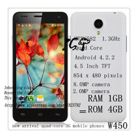 Star W450 add gift  MTK6582 Quad core 1.3ghz 4.5 inch 1GB+4GB Android 4.2 phones dual sim 3g dual camera Free shipping