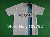 free shipping!!!13/14 best thailand quality Players version Manchester City 3rd white soccer jersey shirts football jersey