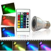 1piece/lot 3W E27 RGB LED Bulb 16 Color Change Lamp spotlight 110-245v for Home Party decoration with IR Remote #2007