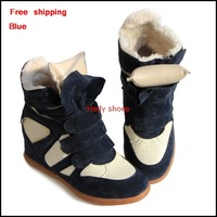 Free Shipping Winter Warm Isabel Marant Sneakers with Fur 4 Colors boots women 2013 isabel marant  Height Increasing