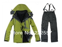 Wholesale Men's outdoor jacket waterproof windproof two detachable mountaineering jackets men ski wear sports suit
