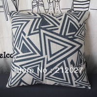 Free Shipping  Printed Triangle Design Cotton Linen Cushion Case Pillow Cover 45x45CM wholesale and retail