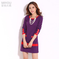 free shipping 2013 plus size mm autumn clothing plus size plus size plus size one-piece dress elegant a