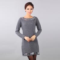 Cashmere sweater paillette elegant women's o-neck long-sleeve sweater wool dress
