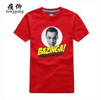 Free Shipping The Big Bang Theory Bazinga W Sheldon Red Tee Shirt Women Male %100 Cotton Short sleeve Fashion Yellow T-Shirt