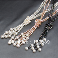 3 Colors Baroque Natural Pearl Long Chain Sweater Scarf-liking Necklace Cultured Freshwater Free Shipping Unice Fashion Jewel